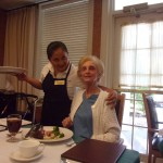 Margaret (resident) made a new friend, Maria - one of many hard working waitresses.