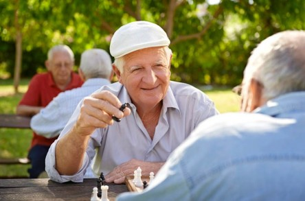 a group of active senior men playing chess