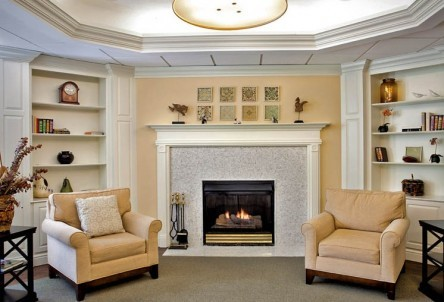 Lobby with fireplace Westchester Assisted Living