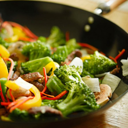 Beef wok stir fry with vegetables