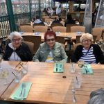Connie, Ruth and Arline (left to right) are about to enjoy a HUGE seafood platter.